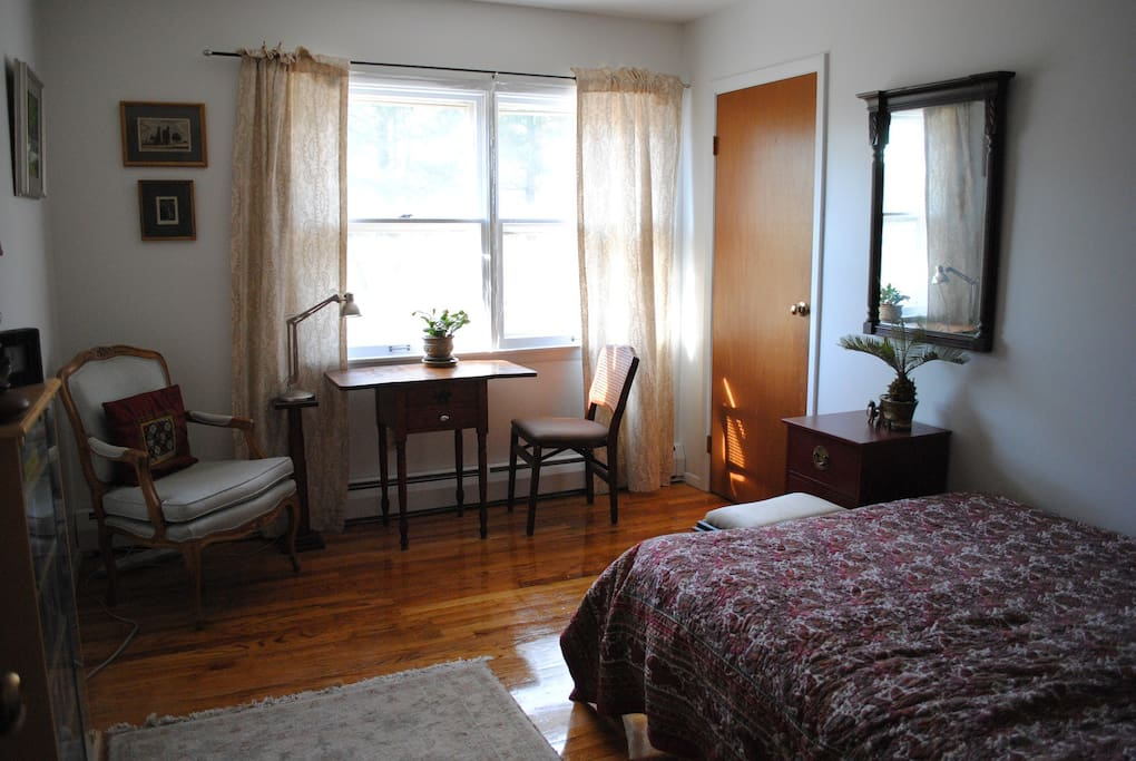 The bedroom has wifi, good storage space (closet and drawers) and a lock on the door.