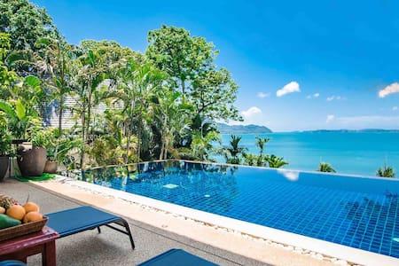 普吉岛一线无敌海景4卧,超大网红无边际泳池&瀑布花园,步行1分钟到海边,醉美日落观赏
