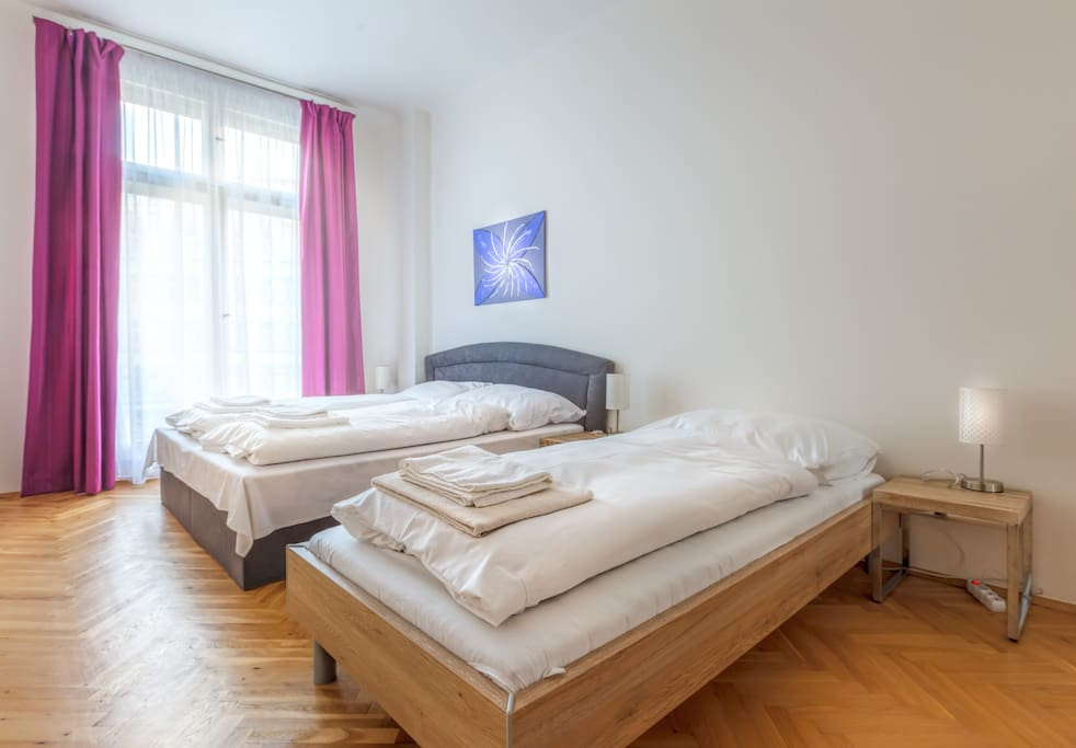 Bedroom №2: with king size bed for two person and 1 bed for one person.