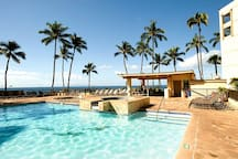 Luxury heated pool and hot tub overlooking the ocean. There is a heated children's pool and sauna.