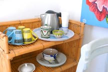 for more comfort in the room is electric water cooker/ you can make your own coffee or tea any time!