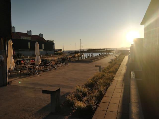 Lys lejlighed med stor terrasse, ved havn og by.