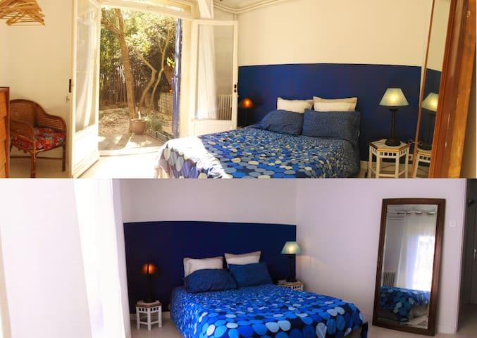BAMBOUS dvt ma Chambre, cuisine, jardin & piscine