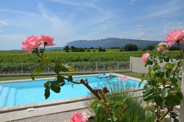 VUE SAINTE VICTOIRE-piscine-proche Aix-en-Provence