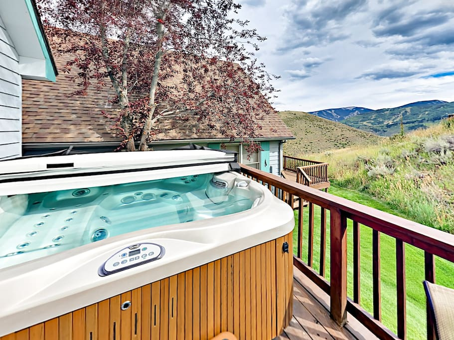 Relax and enjoy the view from your private hot tub.