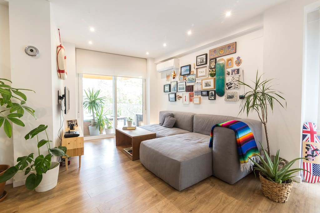 The open plan living area is spacious and bright.