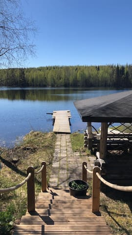 Finnish summer cottage by a small lake