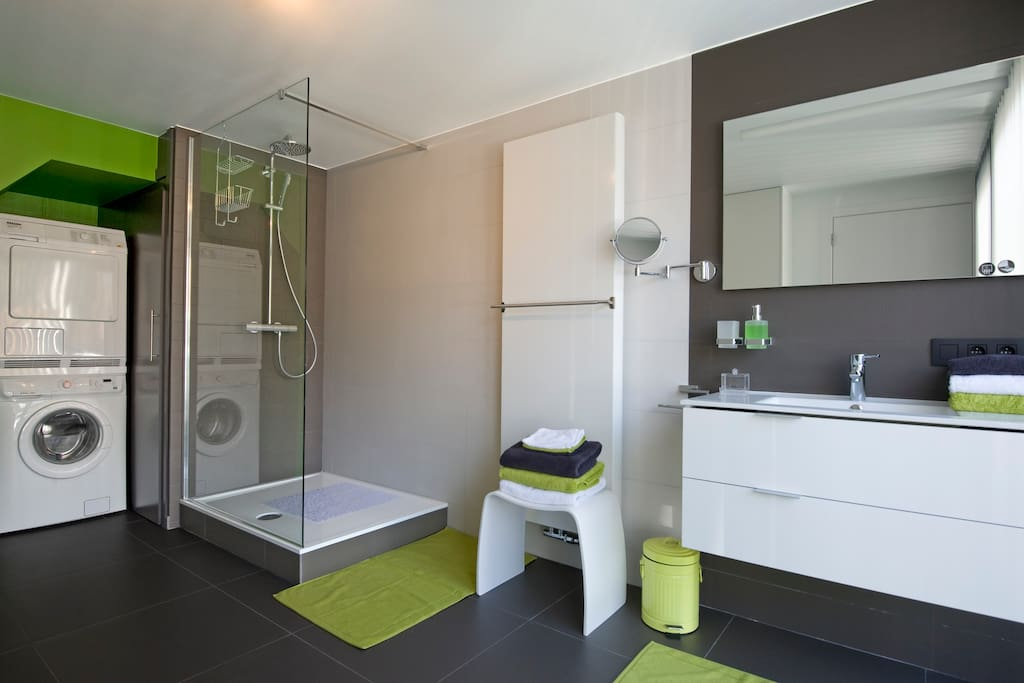 First bathroom located on the ground floor. Equipped with a walk-in shower, washing machine and dryer, hairdryer, and adjoining separate toilet.