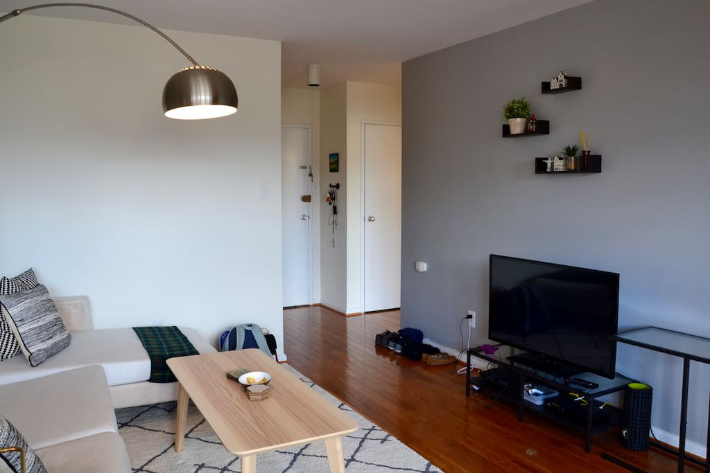 Living room and apartment entrance. Large TV with streaming device
