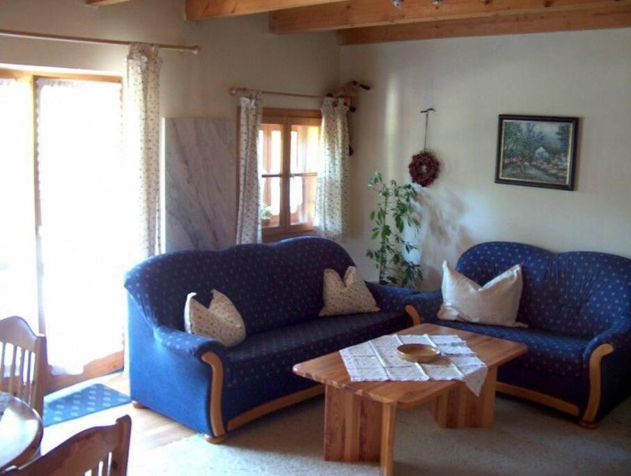 Wohnzimmercouch 3- und 2-sitzig, Couchtisch, rechts neben der Flügeltür zur Terrasse