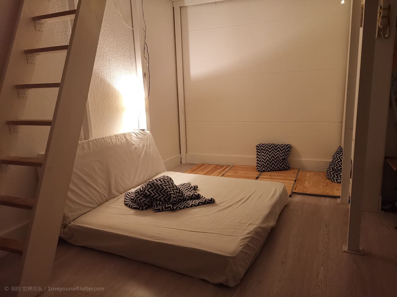 The place shown in this picture belongs to you. I sleep in the loft.