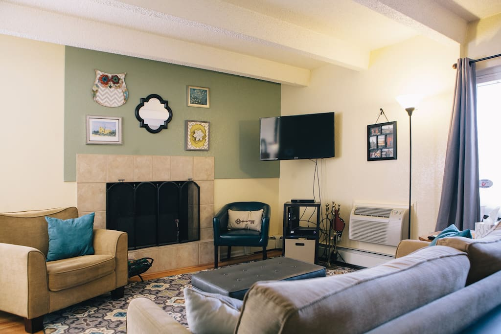 Living Room. T.V. has cable as well as access to Hulu, Netflix, and HBO Go.