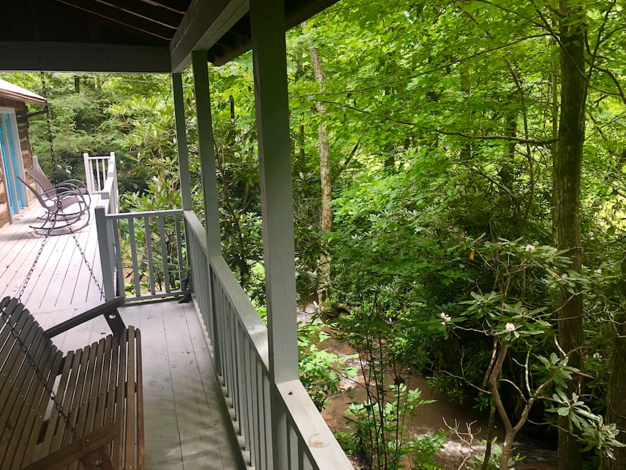 Front porch and creek below