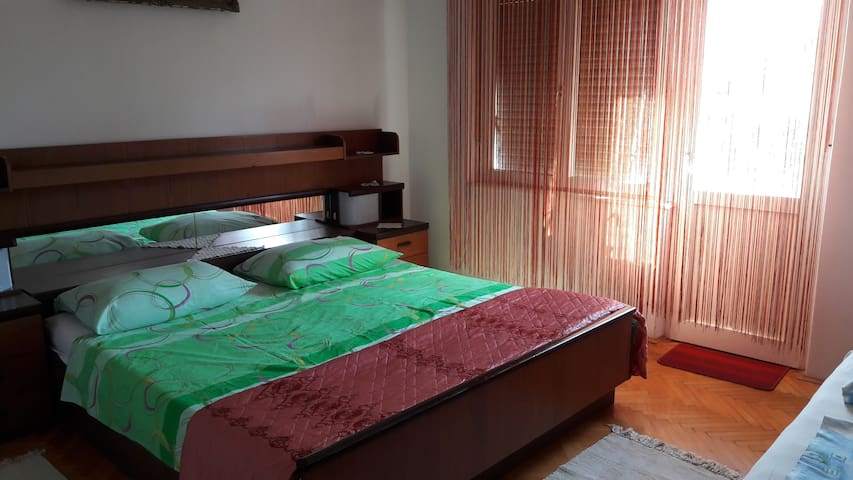 Room Maria consisted from 1 big double bed and 1 single bed, closet, sink, mirrow, own balcony with table and chairs and ventilator