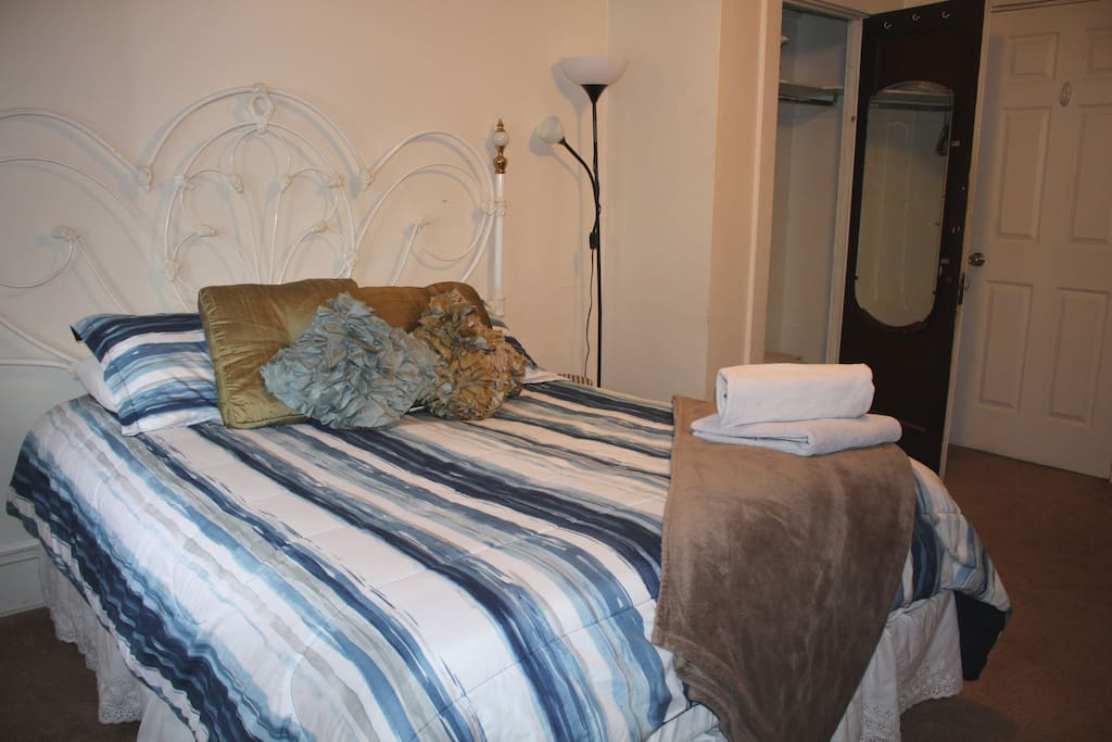 Your room is furnished with a desk, dresser, closet with hangers and beautiful vintage dressing mirror.