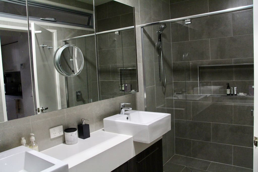 Bathroom, double size shower, one shower head.