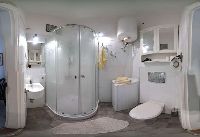 New bathroom (photographed with wide angle lens)
