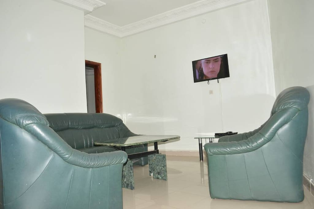 Salon de sejour avec fauteuils en cuir