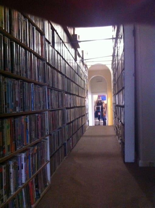This is the extensive movie library you pass through on your way from the room. I think that is a giant finger at the top of the picture.