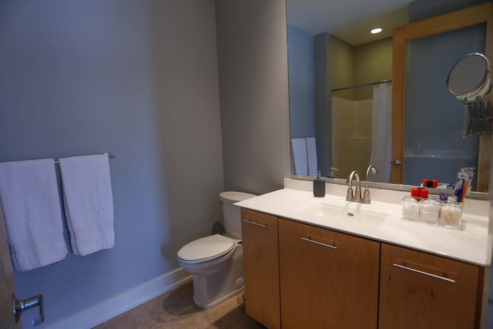 Master bathroom with extra large mirror & toiletry essentials