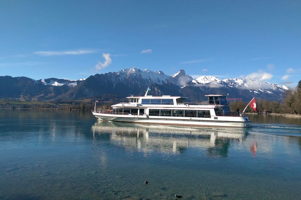 Take the boat and enjoy lake and mountains. The closest boat Station is only a 10min walk away.