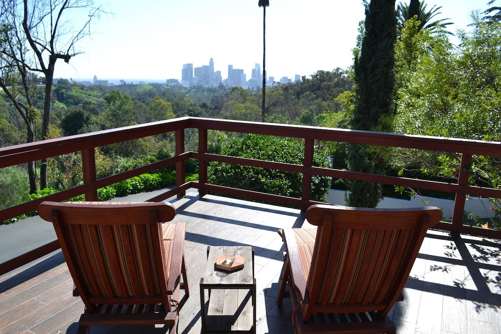 Daytime view of Elysian Park and downtown LA from front terrace