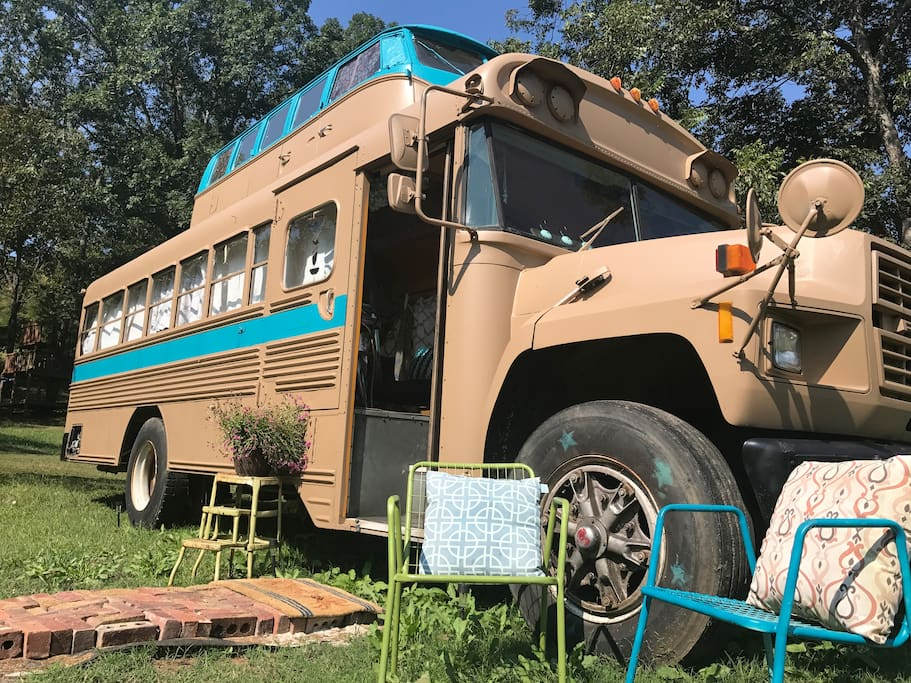Birdsong: a grand old school bus conversion with a Volkswagen on top to extend the ceiling!
