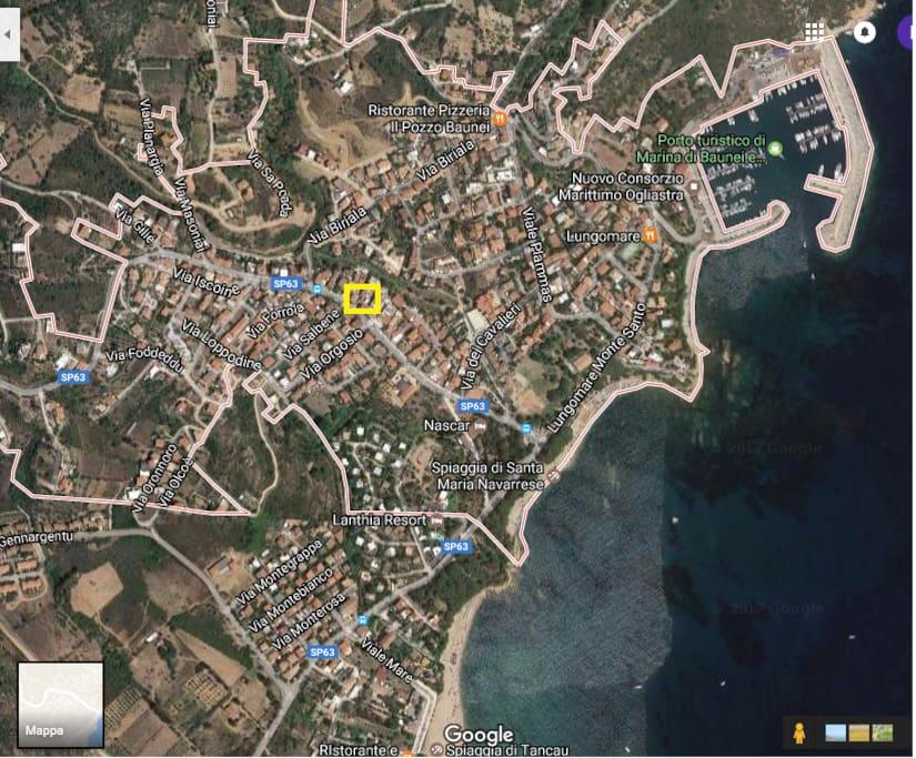 Mappa di S.Maria Navarrese e posizione della casa