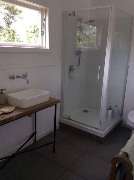 Combined bathroom, toilet.