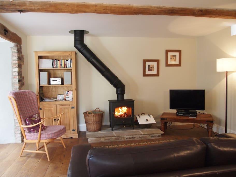 Oak beams, oak floor