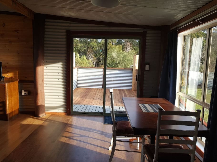 Looking out towards the only just completed private deck. Spacious and sunny.