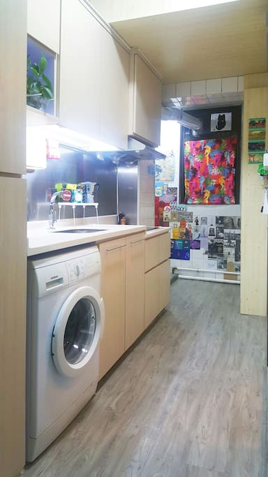 Feel free to use our fully equipped kitchen and washing machine.