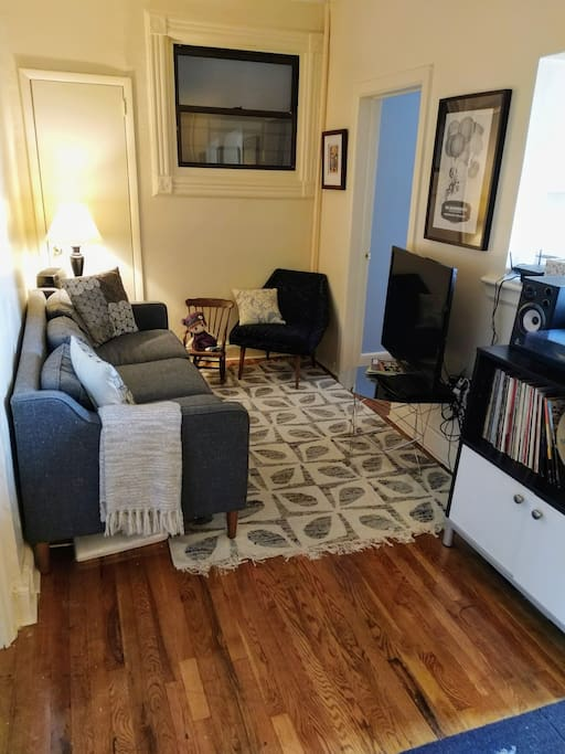 TV has Netflix and Hulu; Stereo with record player and aux