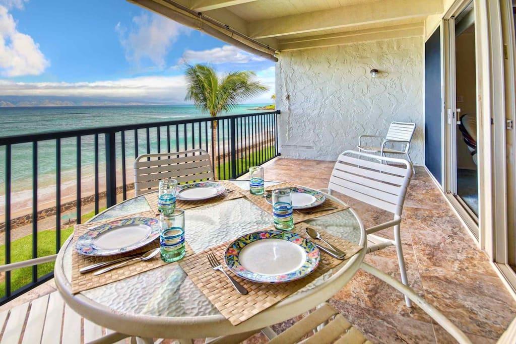 Aloha! Breakfast by the shore...