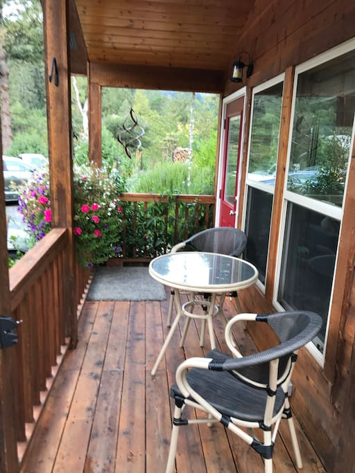 Covered front deck to the cabin - a nice place to watch the moon on a clear night, or drink a hot cup of coffee in the morning.