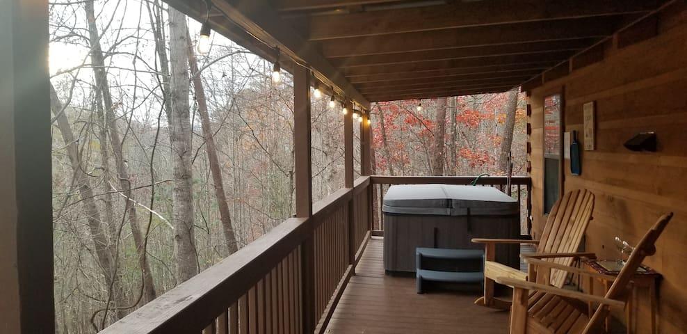 Bear Themed Tiny Cabin, Hot Tub, New Swingset!