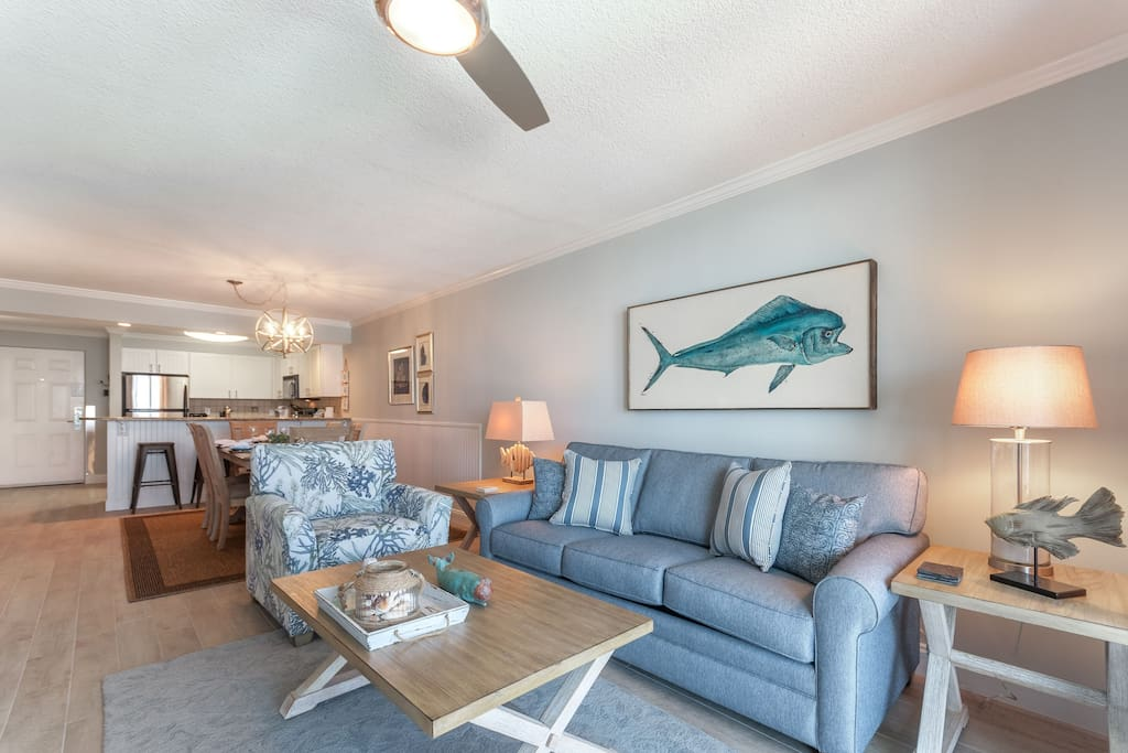 Bull nose dolphin painting by local artist highlights the living area.