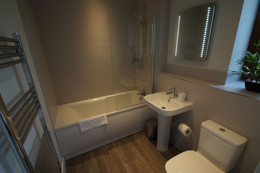 Downstairs bathroom with heated towel rails and shower