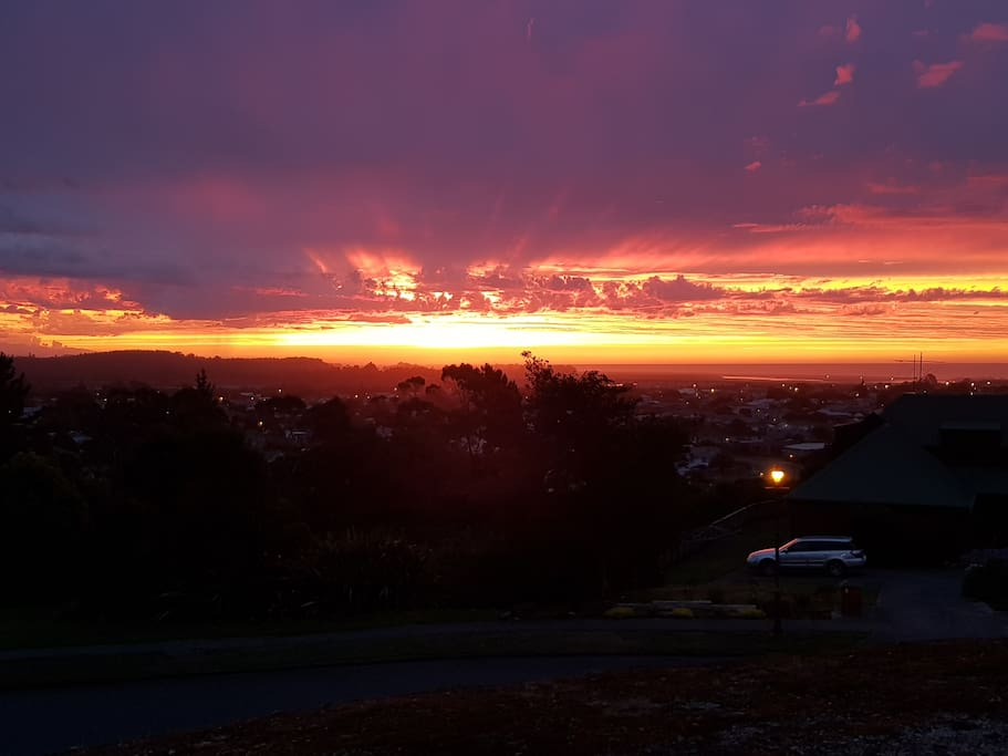 Sunset over Hokitika as seen from Arrival Heights