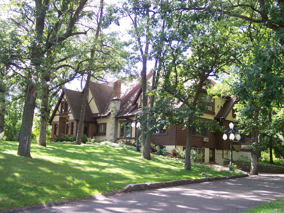 The home is an English Tudor with country-Victorian decor.