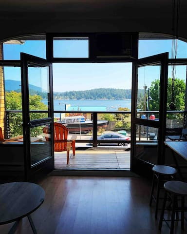 French doors opening to the covered deck
