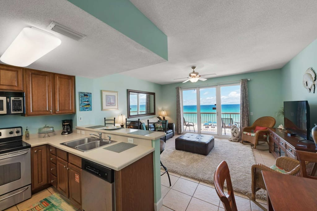Fully Equipped Kitchen and dining area for four.  Extra seating at the kitchen bar.