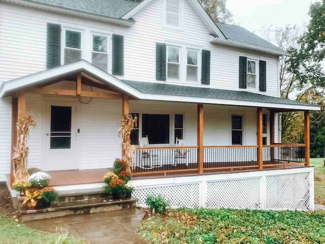 The Orchard House got a facelift!   Brand new porch for you to enjoy