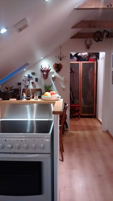 The open central space has a small but fully equipped kitchen. There is a fan above the stove that keeps the cooking fumes down.