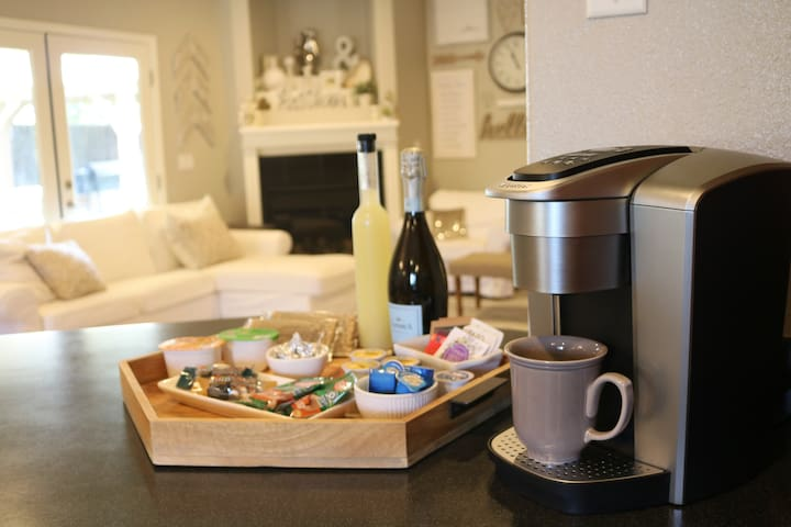 Enjoy a variety of beverages and snacks from morning coffee/tea and breakfast bars on the go to sweet or salty options. Unwind from the day with a complementary bottle of wine and our personal favorite, a bottle of homemade limonchello.