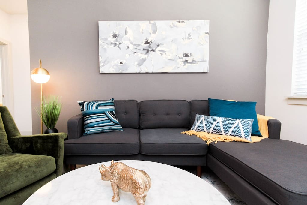 Comfy seating area in the open living room