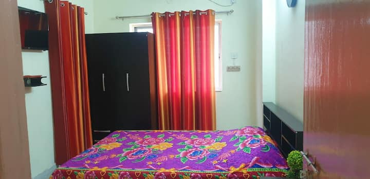 120 sq.ft. Bedroom with attached bathroom with AC