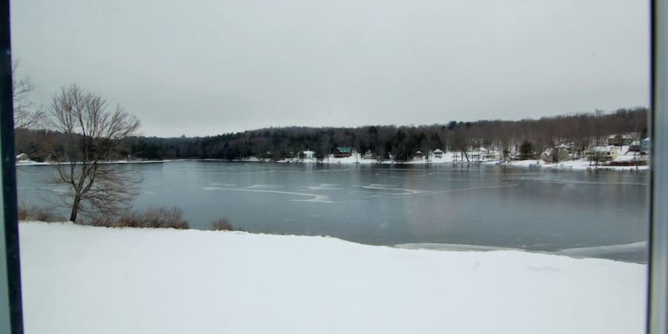 Lake freezes in Winter and great for ice fishing, ice trekking and cozy lakeside fires in the firepit all year round