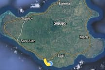 Thick yellow line is the branch way to our place off the siquijor circumferential Road.