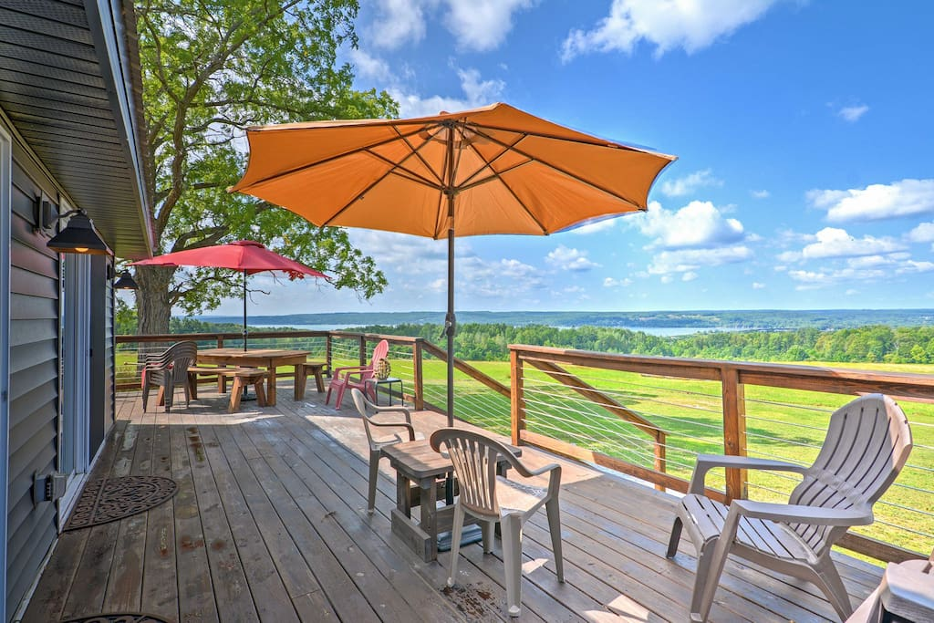 Step onto the furnished deck and take in the stunning view of Chautauqua Lake.